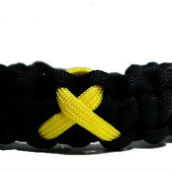 Bone Cancer Yellow Awareness Ribbon Paracord Bracelet