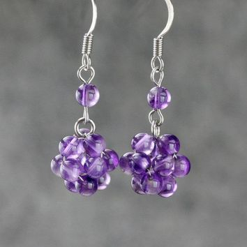 Amethyst ball drop Earrings Bridesmaids gifts Free US Shipping handmade Anni Designs