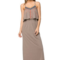 Embroidered Flounce Bib Maxi Dress - Mocha