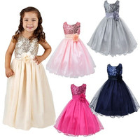 Flower Girl Kids Baby Xmas Bridesmaid Party Formal Sequin Ball Gown Dress 2-10Y [7981323783]