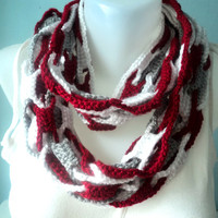 Red white gray infinity scarf-Team color Scarf-Xmas Scarf-Unisex Infinity Scarf-Women Accessories-Loop Scarf-SCRF-808