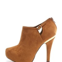 Tan On The Avenue Faux Suede Booties | $9.99 | Cheap Trendy Boots Chic Discount Fashion for Women |