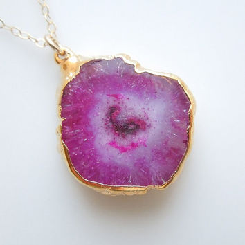 Stalactite Necklace in Magenta : Solar Quartz Jewelry