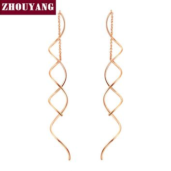 ZHOUYANG Simple Spiral Rose-Gold / White-Gold Long Drop Earrings - 1 Pair (2 Colors)