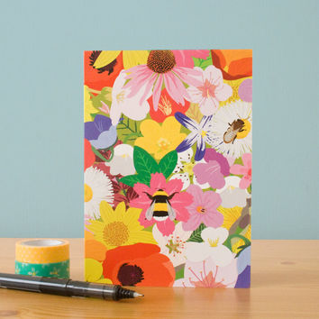 Set of 4 Blank Flowers and Bee's Notecards