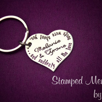 Love Songs About You - Hand Stamped Personalized Key Chain or Necklace - Couple's Names Keychain - Stainless Steel Heart  - Anniversary Gift