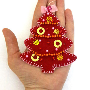 New Decoration For Christmas  Handmade Felt  Tree Ornament Red Sequins  Christmas Tree Under 10 Decorations Craftoriteam Europeanstreetteam