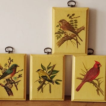 Set 4 Bird Decoupage Plaques Pictures Made of Wood