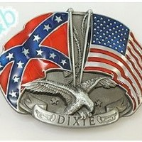Brand:e&b Dixie Us Flag Rebel Flag Southern Pride Double Eagle Belt Buckle Wt-080