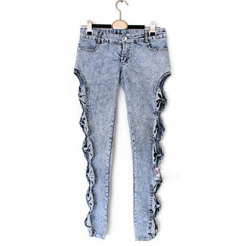 Vintage Side Bow Detailed Cutout Ripped Denim Jeans