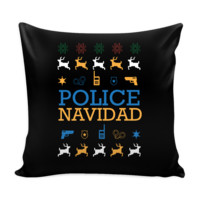 Police Navidad Thin Blue Line Law Enforcement Funny Festive Ugly Christmas Holiday Sweater Decorative Throw Pillow Cases Cover(4 Colors)