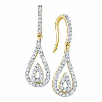 10kt Yellow Gold Womens Round Diamond Teardrop Dangle Earrings 1-2 Cttw - FREE Shipping (US/CAN)