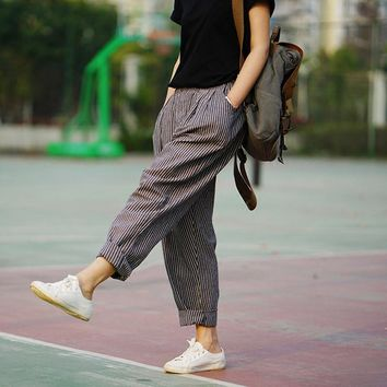 Trousers For Women 2017 Spring & Summer  Women's  Linen Pants Loose Trousers Female Harem Pants Striped Trousers 2 Colors S183