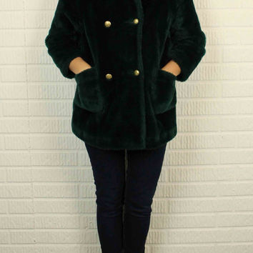 Authentic Hunter Green Teddy Bear Faux Fur Double Breasted Coat By White Stag (Vintage)