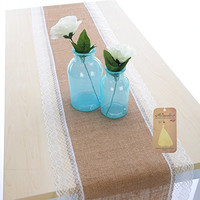 Remedios 1pcs Burlap and Lace Table Runner Table Decoration Wedding Party Favor