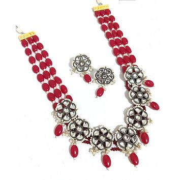Oval resin bead chain with black plating kundan stone flower charm necklace and earring set