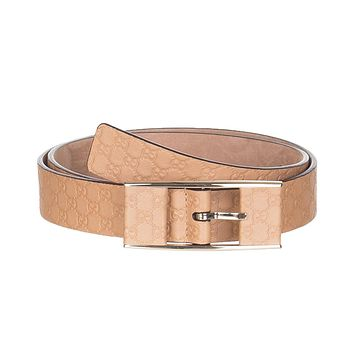 Gucci Women's Beige Thin GG Microguccissima Covered Buckle Leather Belt, 36, Beige