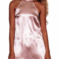 Marci Satin High Neck Mini Dress