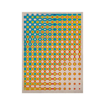 "Dawid Roc ""Psychedelic Art"" Yellow Blue KESS Naturals Canvas (Frame not Included)"