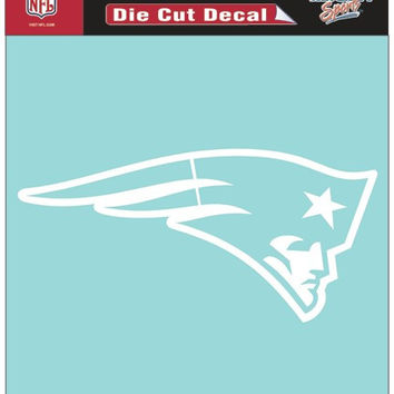 New England Patriots Decal 8x8 Die Cut White