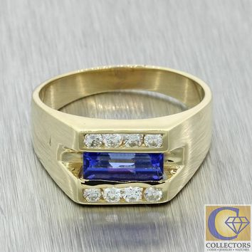 Vtg Estate Mens 14k Yellow Gold 10mm Baguette Tanzanite Diamond Cocktail Ring