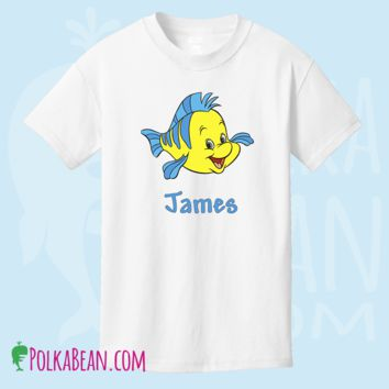 Personalized Flounder from The Little Mermaid  White T Shirt or Onesuit/ Disney Shirt/Disney Trip Shirt