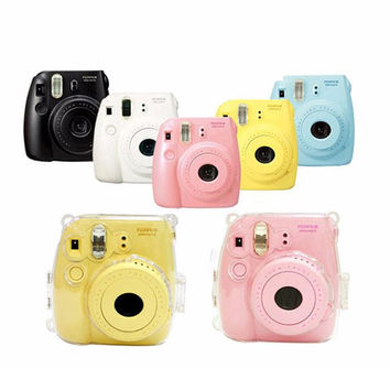New Transparent Plastic Fuji Fujifilm Instax Mini 8 Camera Case Cover Protect Camera Bag + Camera Strap Free Shipping