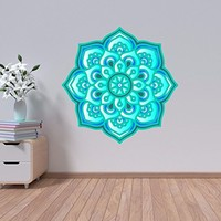 "NEW Mandala Wall Decals Meditation Full Color Murals Bohemian Boho Vinyl Sticker Decal Yoga Floral Namaste Home Decor Art EN44 (18"" Tall x 18"" Wide)"