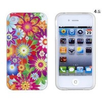 Stunning Flowers Flexible TPU Gel Case with Clear Sides for Apple iPhone 4, 4S (AT&T, Verizon, Sprint)
