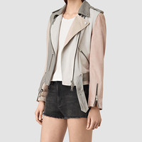 ALLSAINTS US: Womens Murray Leather Biker Jacket (GREY/PALE PINK/ICE)