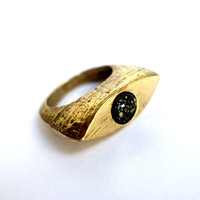 Drusy Deluxe: Brass Cleopatra Ring with Black rusy