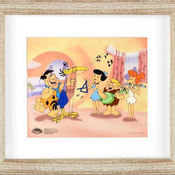 Fred Plays the Harp - Limited Edition Sericel by Hanna-Barbera Animation Art with a Full Color Lithograph Background