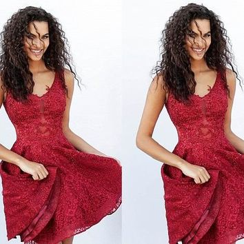 Burgundy V-neck Straps Lace Short Homecoming Dresses