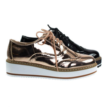 Mick1 Rose Gold Platform Creepers Brogues Oxford Shoes, Women Wingtip Lug Sole Flatform