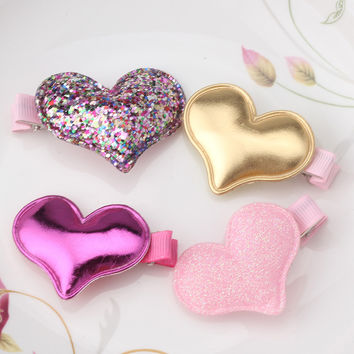 Children Summer Style Metal Color  Shiny Butterfly Hairpins Girls Hair Accessories Heart Star Hair Clip for Baby Dress
