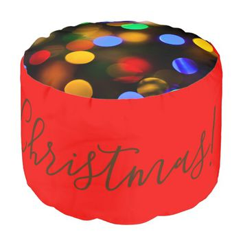 Multicolored Christmas lights. Add text or name. Pouf