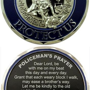 St Michael Protect Us Police Prayer Challenge Coin
