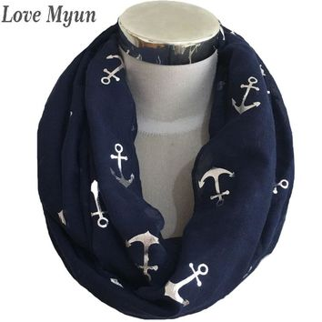 Free Shipping ! Fashion Anchor With Champagne Foil Print  Infinity Scarf