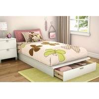 Twin Size Contemporary Platform Bed With Storage Drawer In White