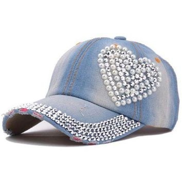 DCCKWJ7 New High Quality Cool Crystal Floral Denim Baseball Cap Bling Rhinestone Hip Hop Adjustable Snapback Hat Gorra For Women