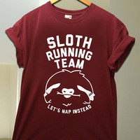 Sloth Running Team for T Shirt unisex adult