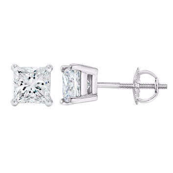 0.50 Ct Princess Cut CZ 14k White Gold Stud Earrings Solitaire Screw Back 6mm New