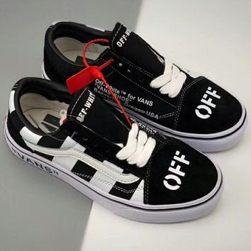 VANS & OFF-WHITE Joint Series Men's and Women's Flat Shoes Canvas Shoes F-CSXY black