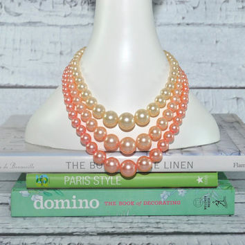 Beautiful Vintage Bead Necklace - Shades of Pink - Multi-Strand - Mid-Century