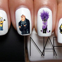 Despicable Me With Gru & Minions Set Nail Art Transfers water Decals not stickers