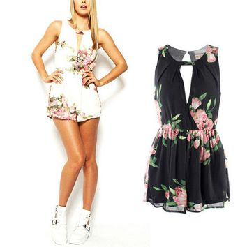 CREYYN6 Summer Female Overalls Clothing Open Back Chiffon Floral Romper Women Playsuits Jumpsuit