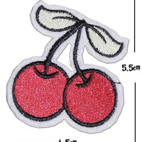 Cherries Iron on / sew on Embroidery Patch Badge Embroidered Applique Motif