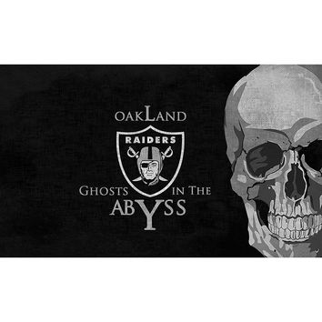 Top Design OAKLAND RAIDERS football skull Flags 3ftx5ft 100D Polyester Hip Hop banners metal Grommets 90x150cm
