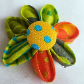 Fabric Flower Hair Clip with covered button accent ~ Aqua Yellow Green Orange~ Kanzashi Flower Hair Clip ~ Ladies Girls Baby Hair Clip ~