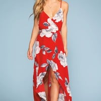 Coastal Waves Floral Maxi Dress - Red